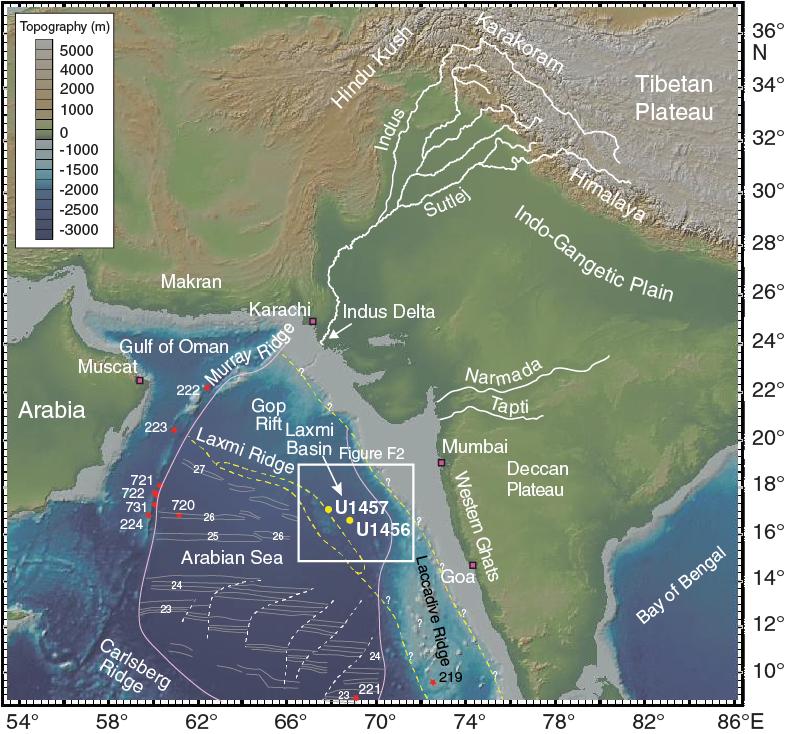 Ocean Floor Relief Map