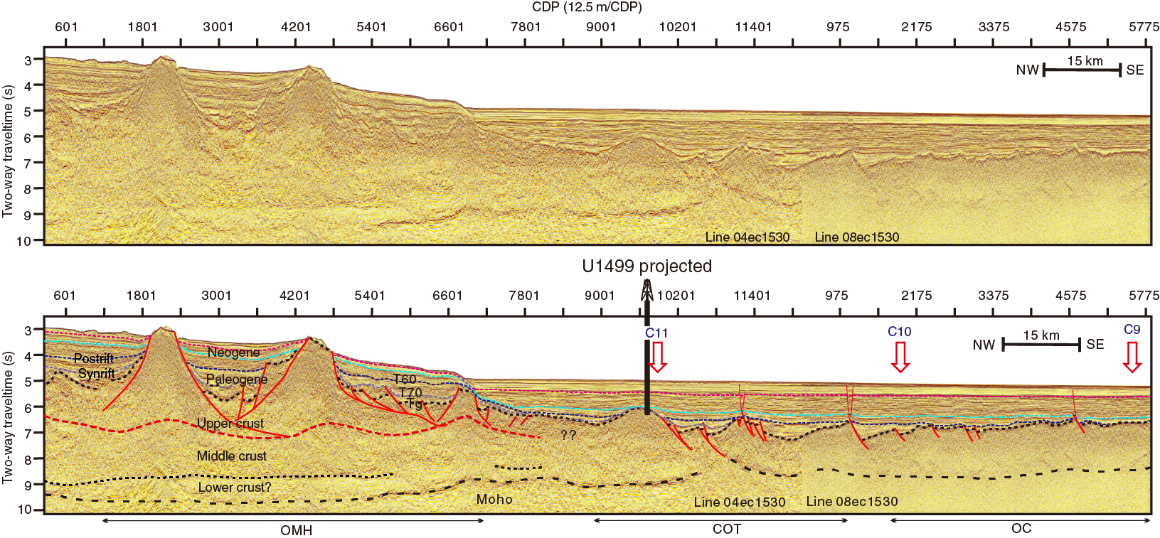 Iodp Publications Volume 367 368 Expedition Reports Site U1500 1996 Lowe 170 Basic Boat Wiring Diagram F9 Uninterpreted And Simplified Interpretation Seismic Profile 1530