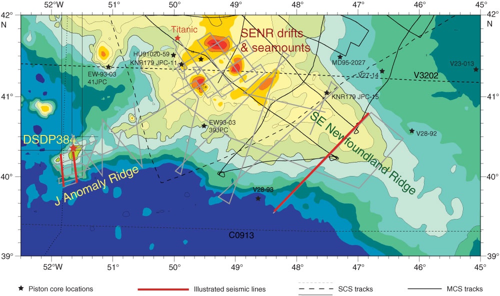 Iodp expedition 342 scientific prospectus bathymetry for the newfoundland ridges red lines are interpreted single channel seismic scs profiles shown in figures f10 and f11 sciox Gallery